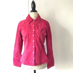 Aria Pretty Little Liars Leather Pink Button Coat